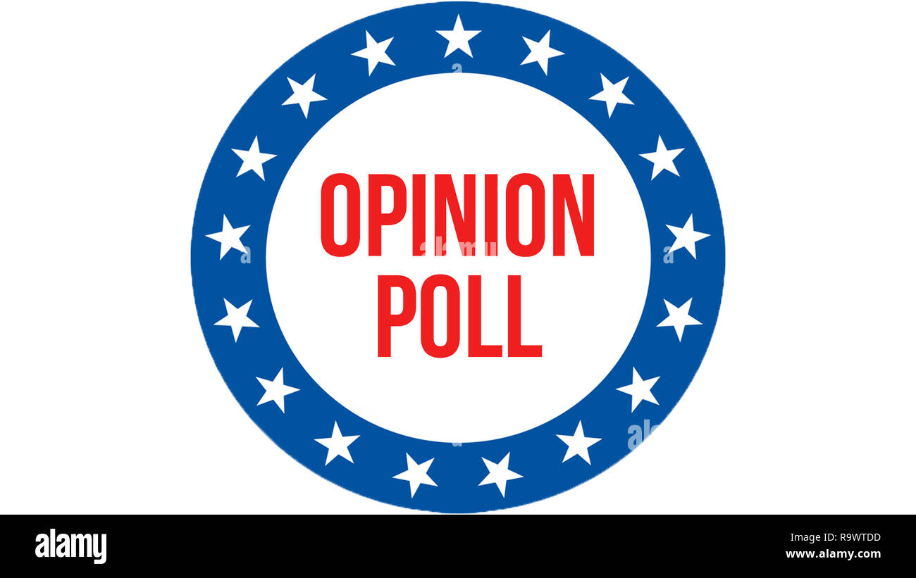 Opinion poll election on a USA background, 3D rendering. United States of America flag waving in the wind. Voting, Freedom Democracy, Opinion poll con - Stock Image
