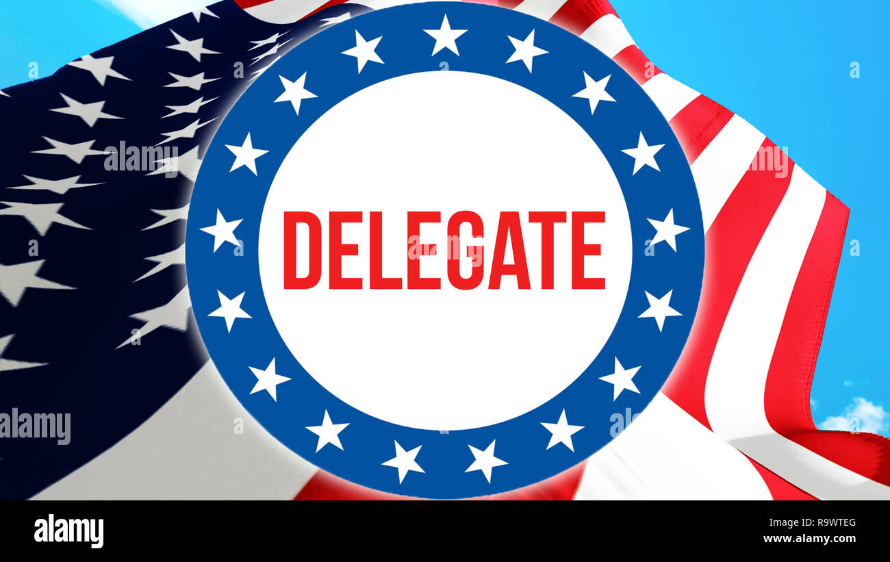 delegate election on a USA background, 3D rendering. United States of America flag waving in the wind. Voting, Freedom Democracy, delegate concept. US - Stock Image