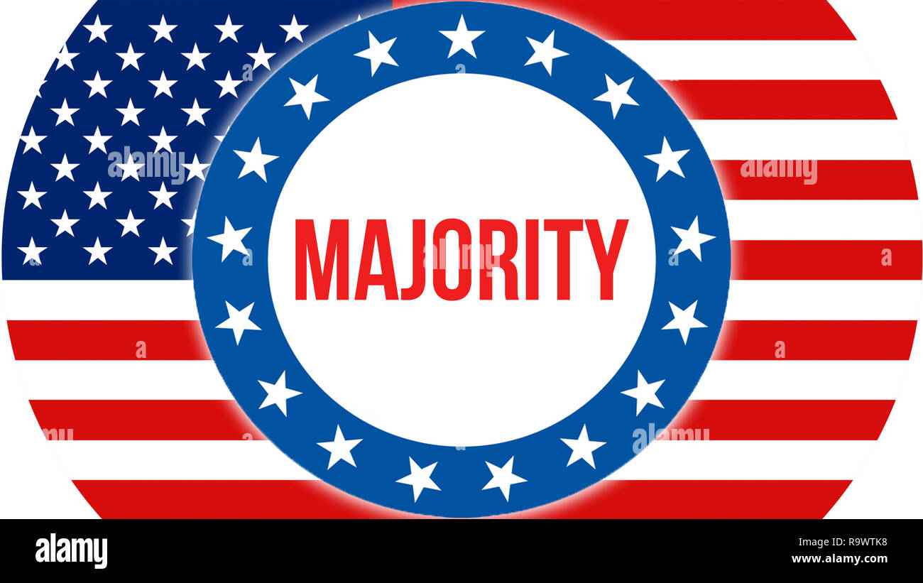 majority election on a USA background, 3D rendering. United States of America flag waving in the wind. Voting, Freedom Democracy, majority concept. US - Stock Image