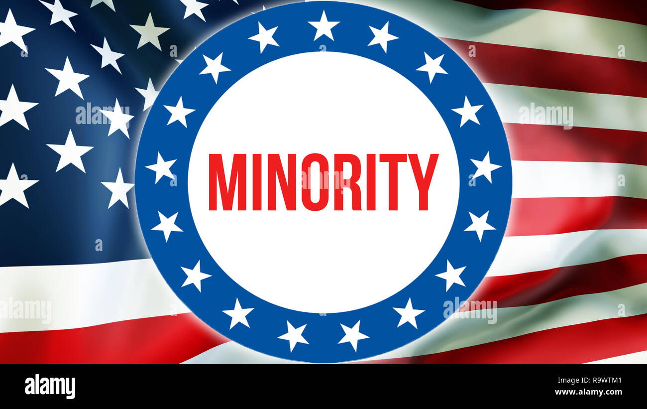 minority election on a USA background, 3D rendering. United States of America flag waving in the wind. Voting, Freedom Democracy, minority concept. US - Stock Image
