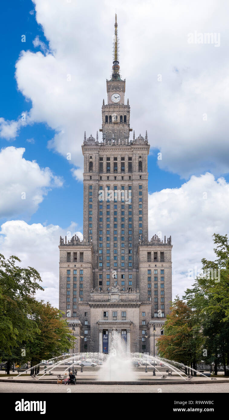 The 1950s Palace of Culture and Science (Pałac Kultury i Nauki or PKiN), a notable landmark in the Polish capital, Warsaw, Poland Stock Photo