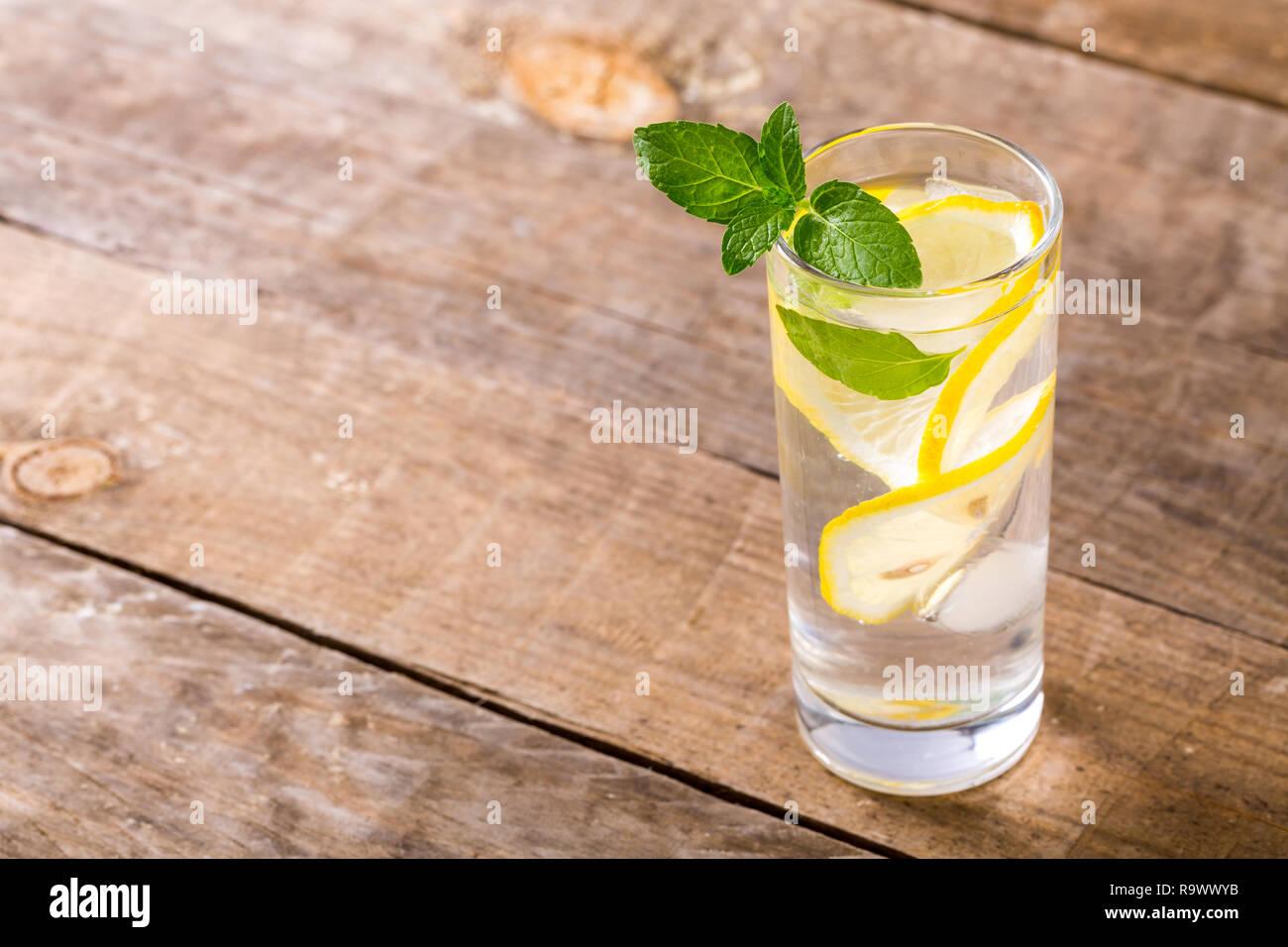 Closeup of fresh water with lemon, mint. Stock Photo