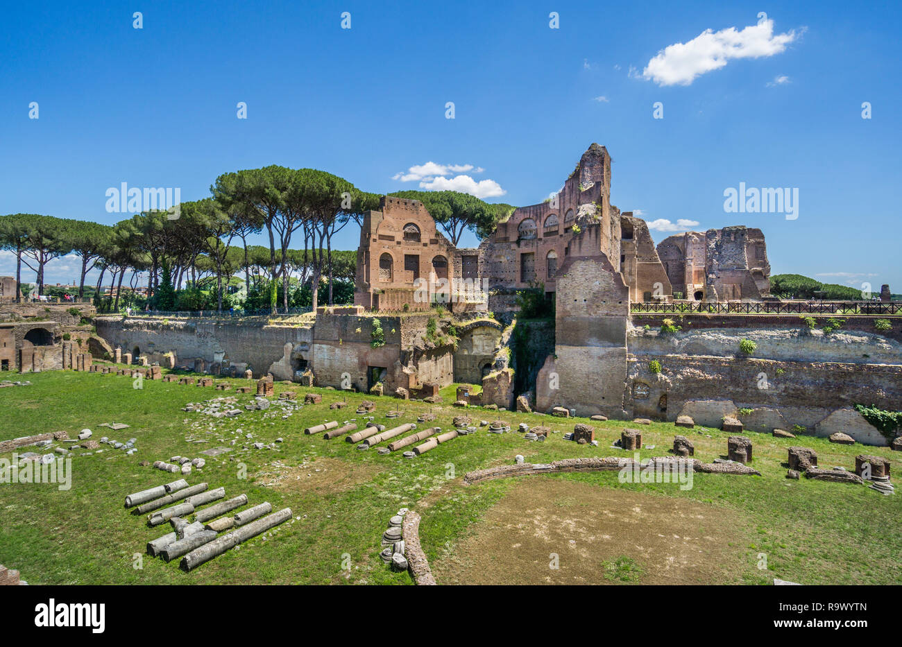 view of the Stadion of Domitian at the Palace of Domitian on Palatine Hill, Rome, Italy - Stock Image