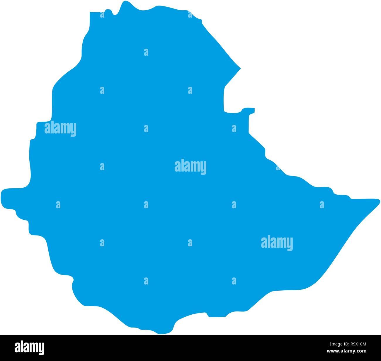 map of Ethiopia. Silhouette of Ethiopia map vector illustration - Stock Vector