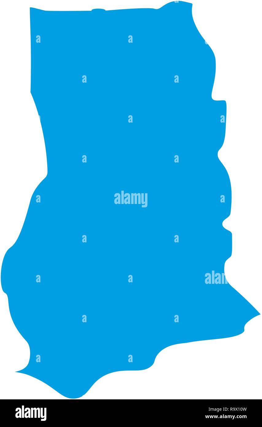 map of Ghana. Silhouette of Ghana map vector illustration - Stock Vector