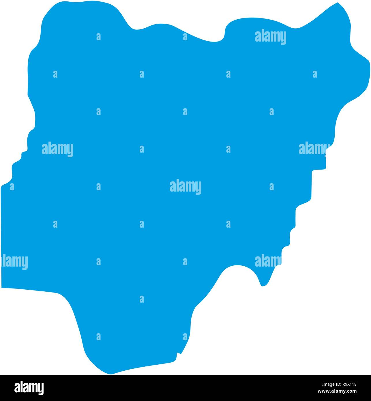 map of Nigeria. Silhouette of Nigeria map vector illustration - Stock Vector