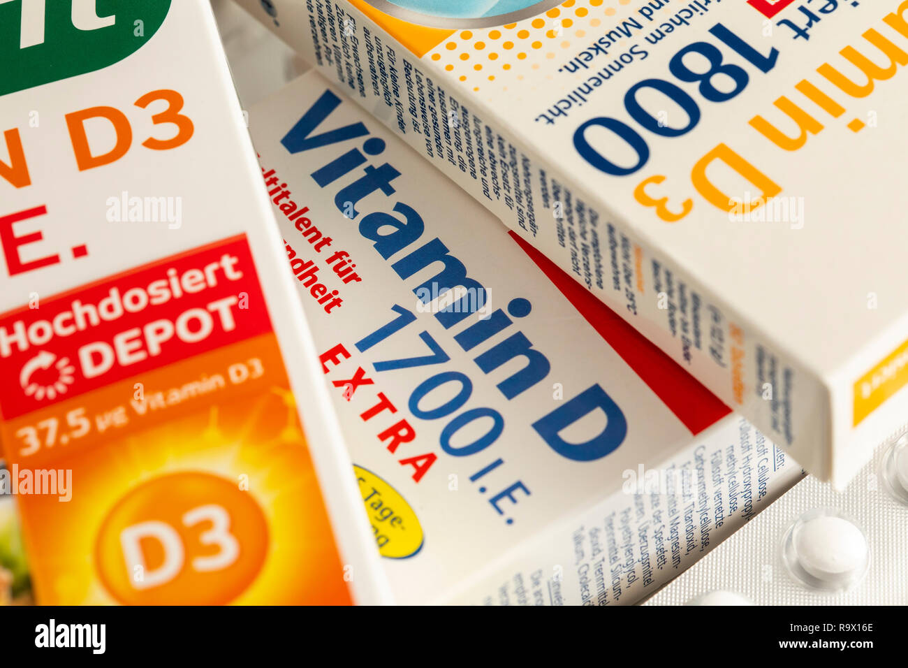 Vitamin D tablets packs, the preparation is intended to supplement the vitamin D deficiency, by low solar radiation, for example in winter, - Stock Image