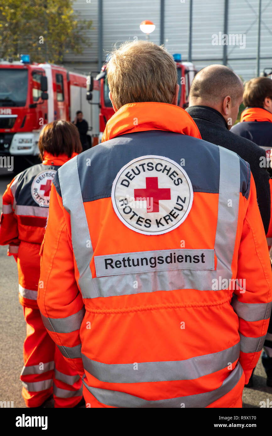 Rescue Workers, Rescue Service, Volunteers, Aid Organizations,  German Red Cross, - Stock Image