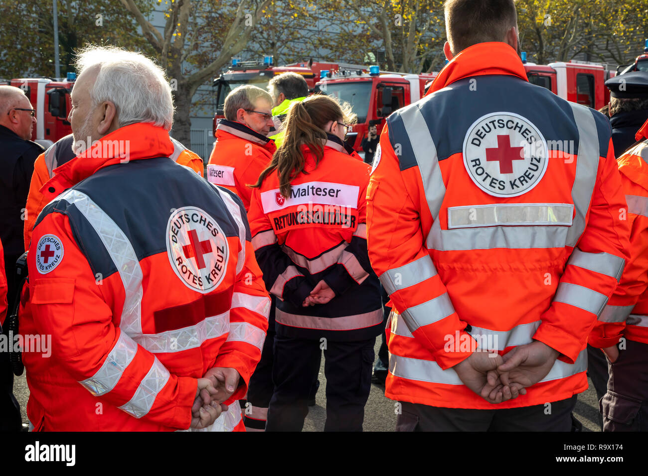 Rescue Workers, Rescue Service, Volunteers, Aid Organizations, Maltese aid service, German Red Cross, Stock Photo