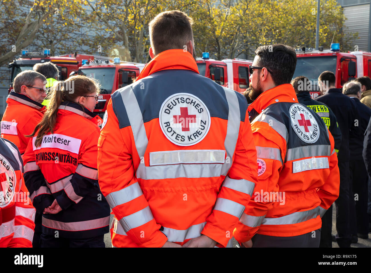 Rescue Workers, Rescue Service, Volunteers, Aid Organizations, Maltese aid service, German Red Cross, - Stock Image