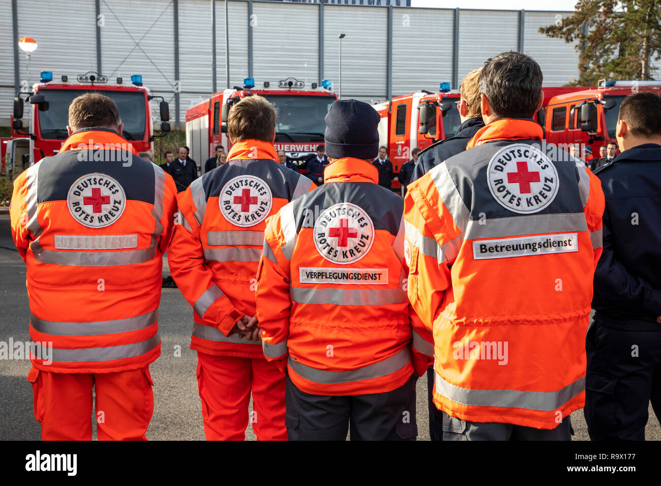 Rescue Workers, Rescue Service, Volunteers, Aid Organizations, German Red Cross, Stock Photo