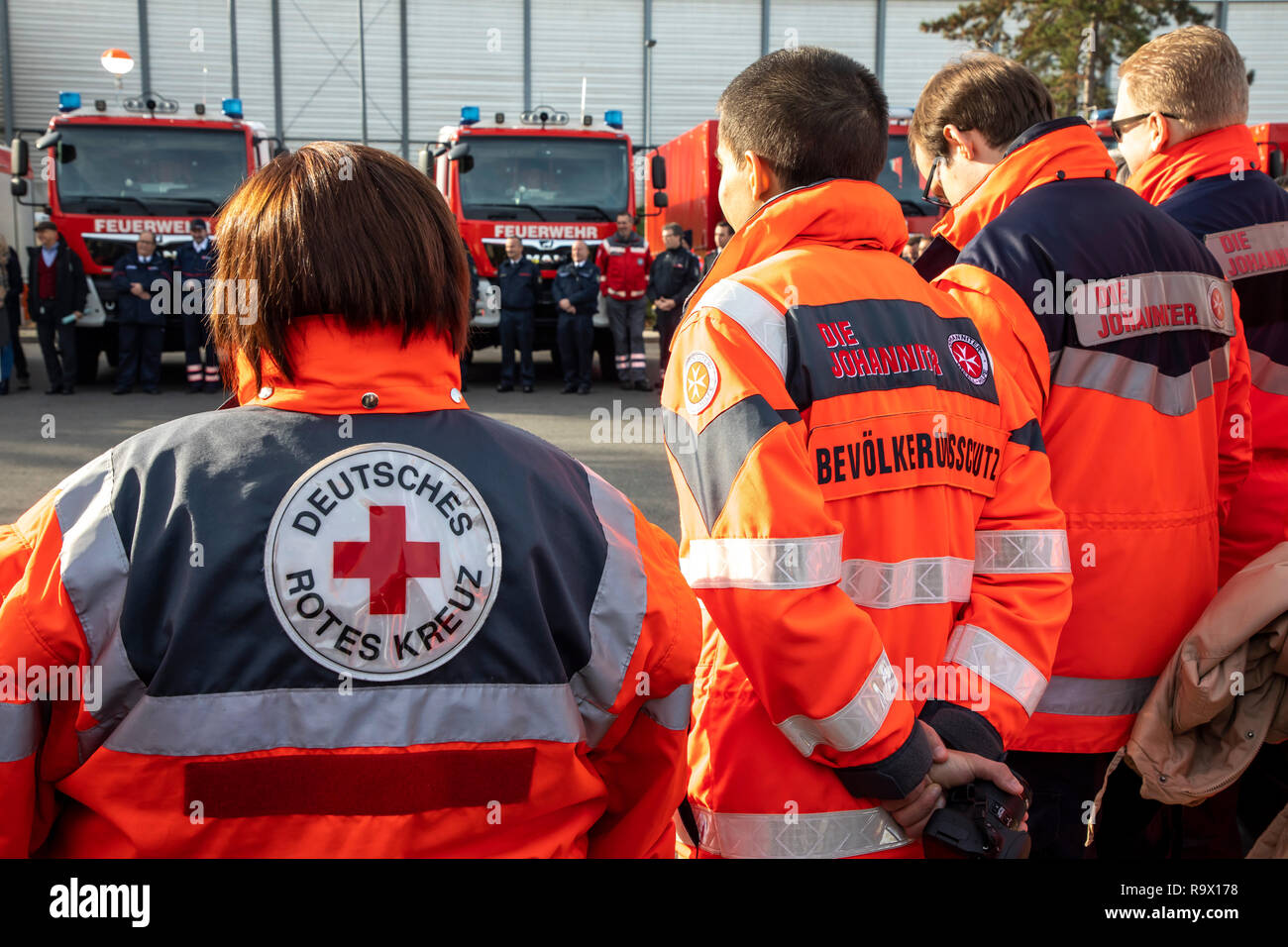 Rescue Workers, Rescue Service, Volunteers, Aid Organizations, The Johanniter, German Red Cross, - Stock Image