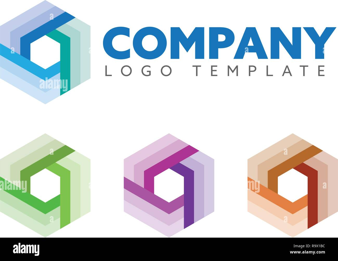 Hexagon shape company logo vector template, abstract cube symbol for science, technology or logistics - Stock Image