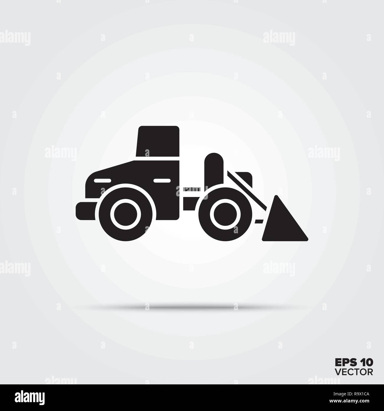 wheel loader glyph icon vector - Stock Image