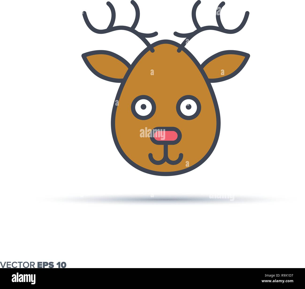 Cute deer face outline vector icon with color fill. Funny animal illustration. - Stock Vector