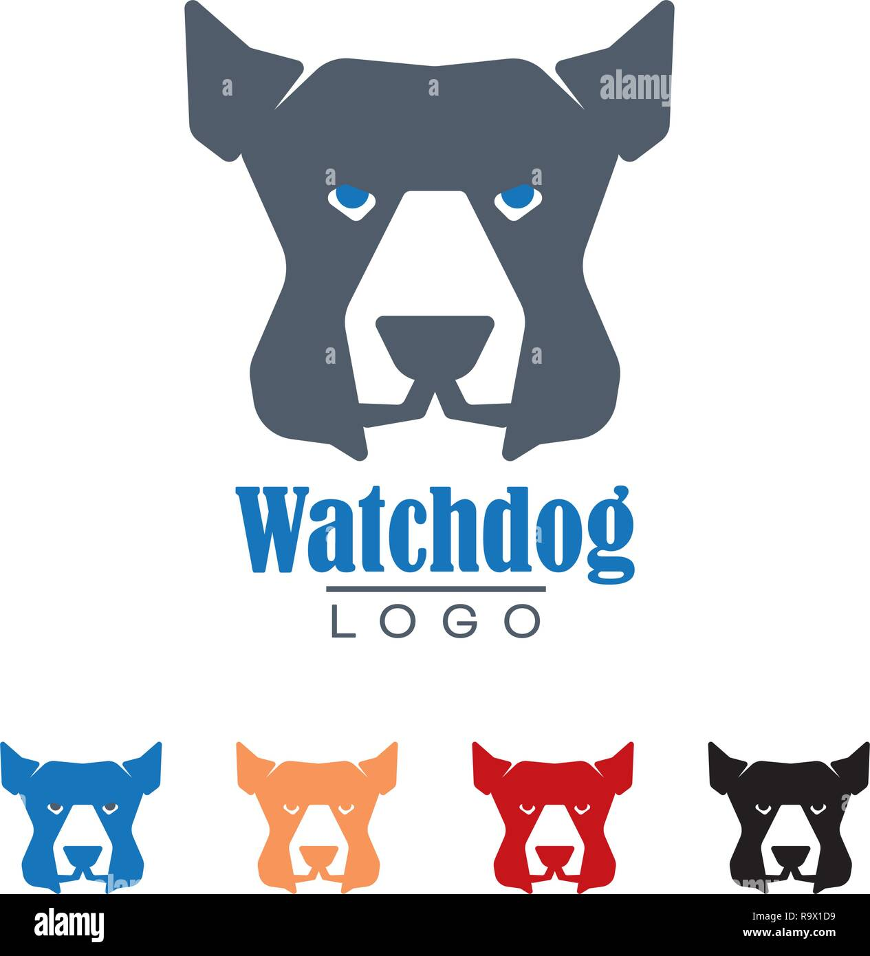 Company logo template with watchdog vector illustration. Protection and security symbol. - Stock Image