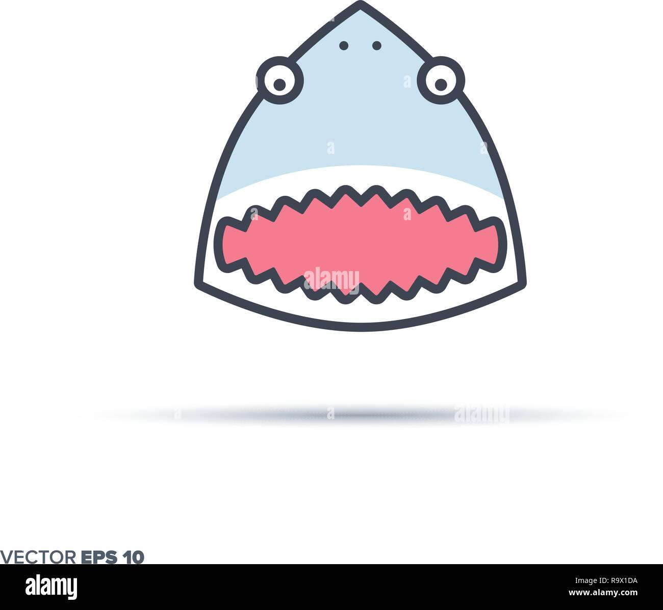 Cute shark face outline vector icon with color fill. Funny animal illustration. - Stock Vector