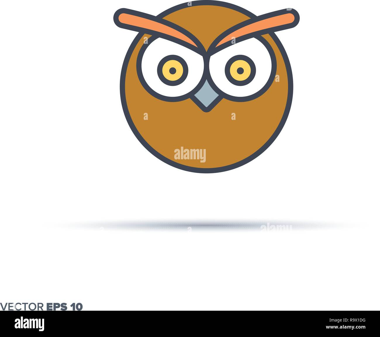 Cute owl face outline vector icon with color fill. Funny animal illustration. - Stock Vector