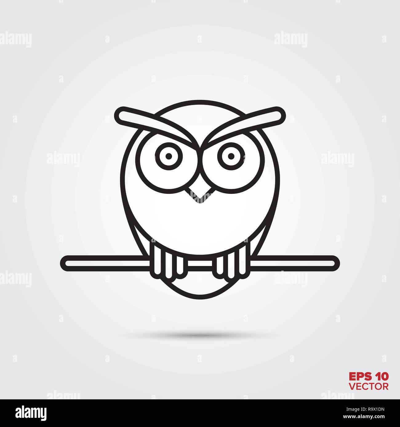 Owl line icon vector illustration. Knowledge and wisdom symbol. - Stock Vector