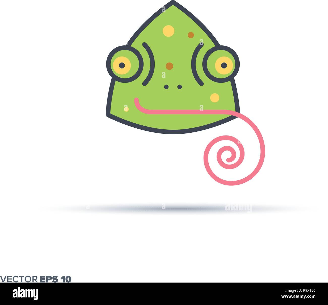 Cute chameleon face outline vector icon with color fill. Funny animal illustration. - Stock Vector