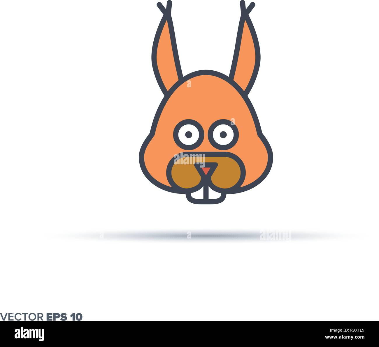 Cute squirrel face outline vector icon with color fill. Funny animal illustration. - Stock Vector