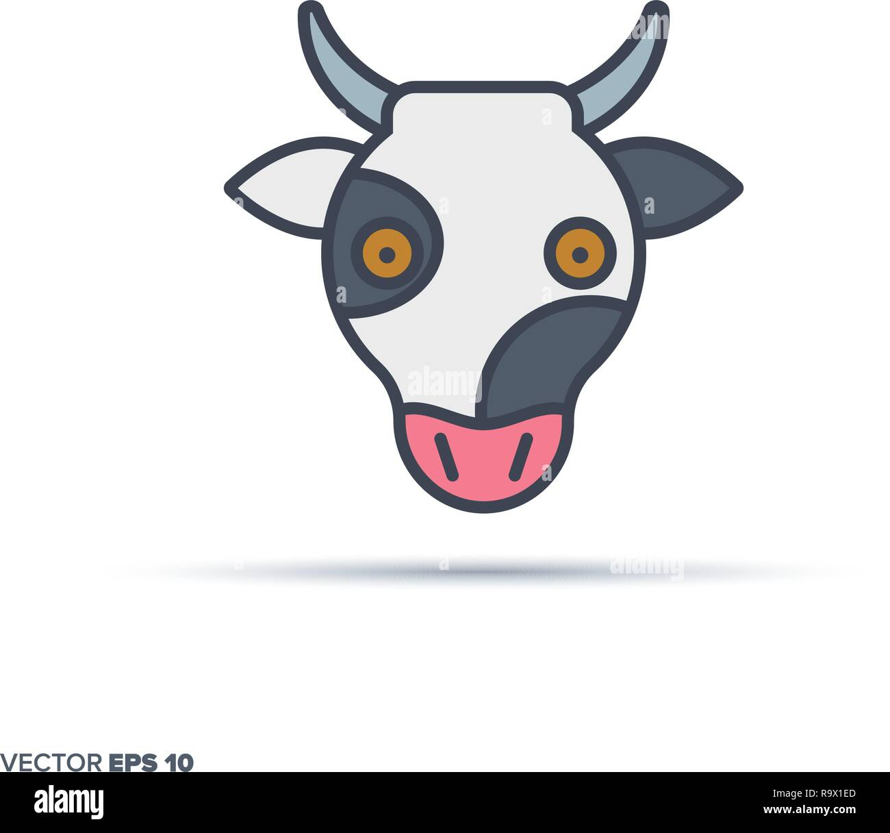 Cute cow face outline vector icon with color fill. Funny animal illustration. - Stock Vector