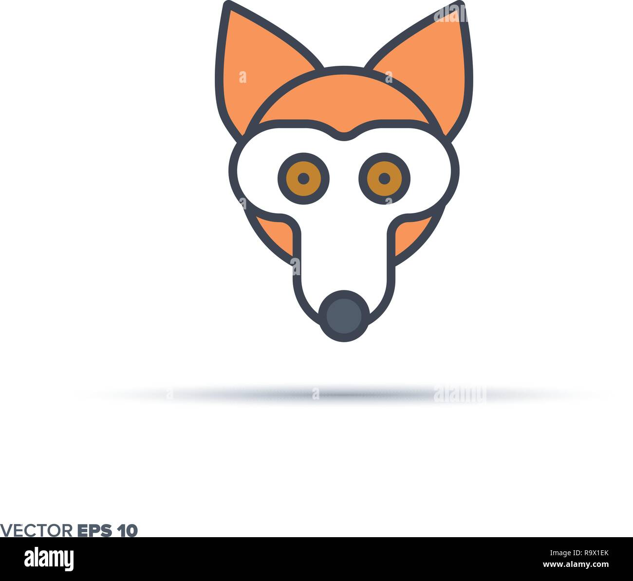 Cute fox face outline vector icon with color fill. Funny animal illustration. - Stock Vector