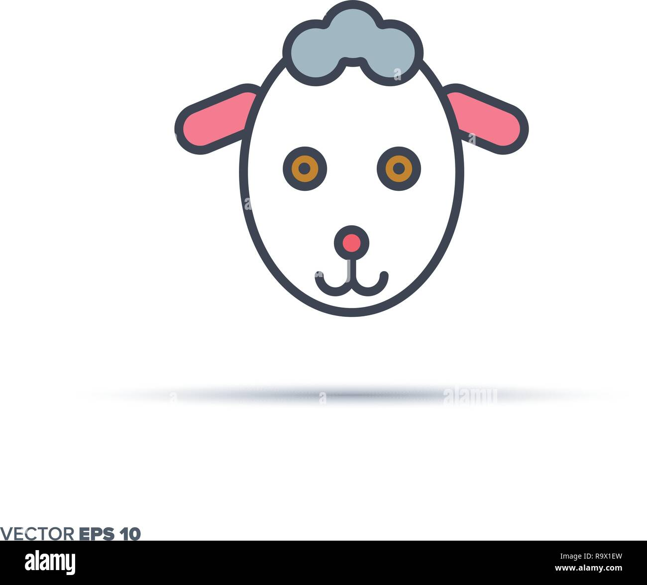Cute sheep face outline vector icon with color fill. Funny animal illustration. - Stock Vector