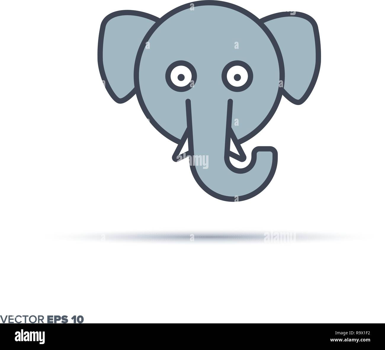 Cute Elephant Face Outline Vector Icon With Color Fill Funny Animal Illustration Stock Vector Image Art Alamy