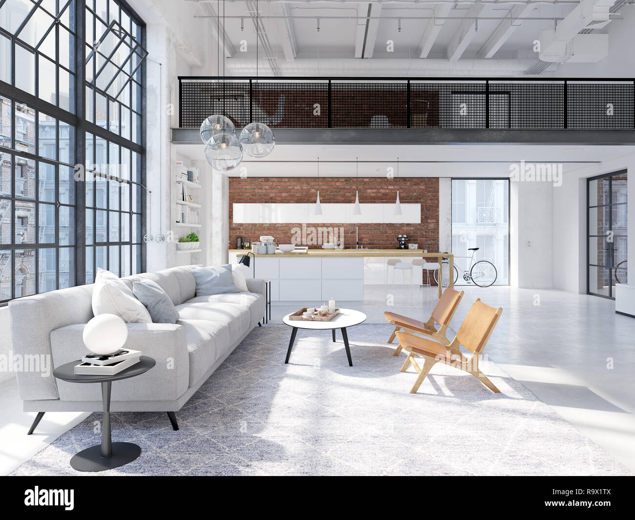 3d Rendering Loft Apartment With Living Room And Kitchen Stock Photo Alamy