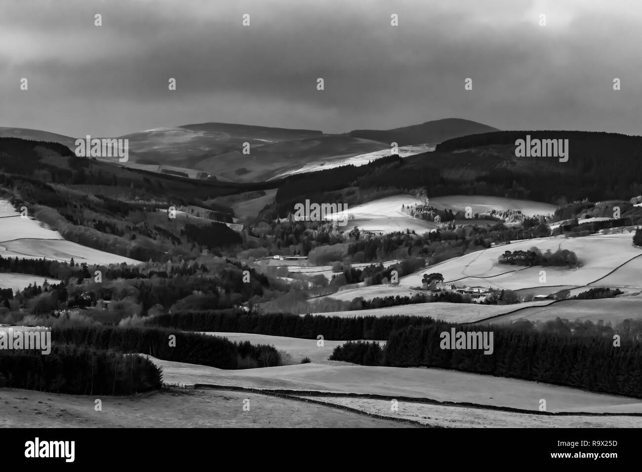 Selkirk, Scottish Borders, UK. 22nd December 2018. The Tweed valley at Yair near Selkirk in the Borders. Yair in Scot's means fish trap. Stock Photo