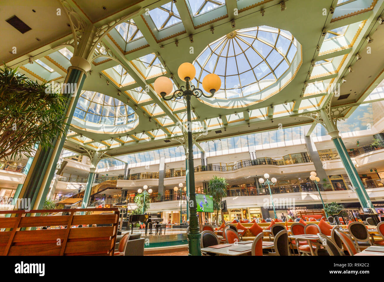 Interior of the modern light and airy First Mall, La Gourmandise, part of the luxurious Cairo At The First Residence Four Seasons Hotel, Cairo, Egypt Stock Photo