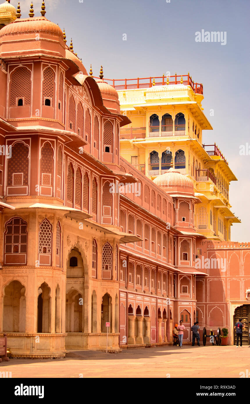 Section of City Palace, which includes the Chandra Mahal and Mubarak Mahal palaces and other buildings, is a palace complex in Jaipur, Rajasthan,India - Stock Image