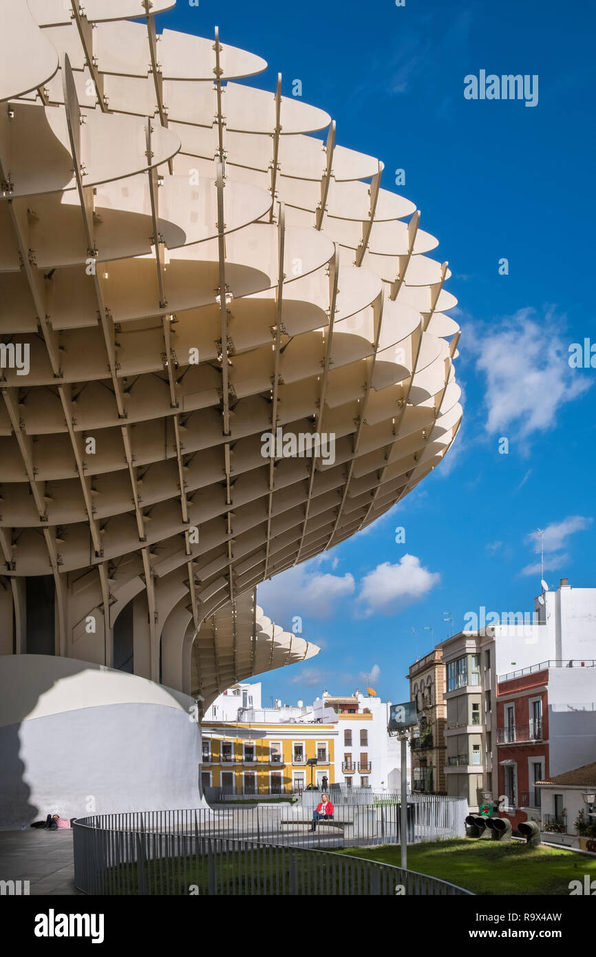 The Metropol Parasol in the old historic quarter of Seville, Spain, is a large wooden mushroom shaped structure popular with tourists to the city. Stock Photo
