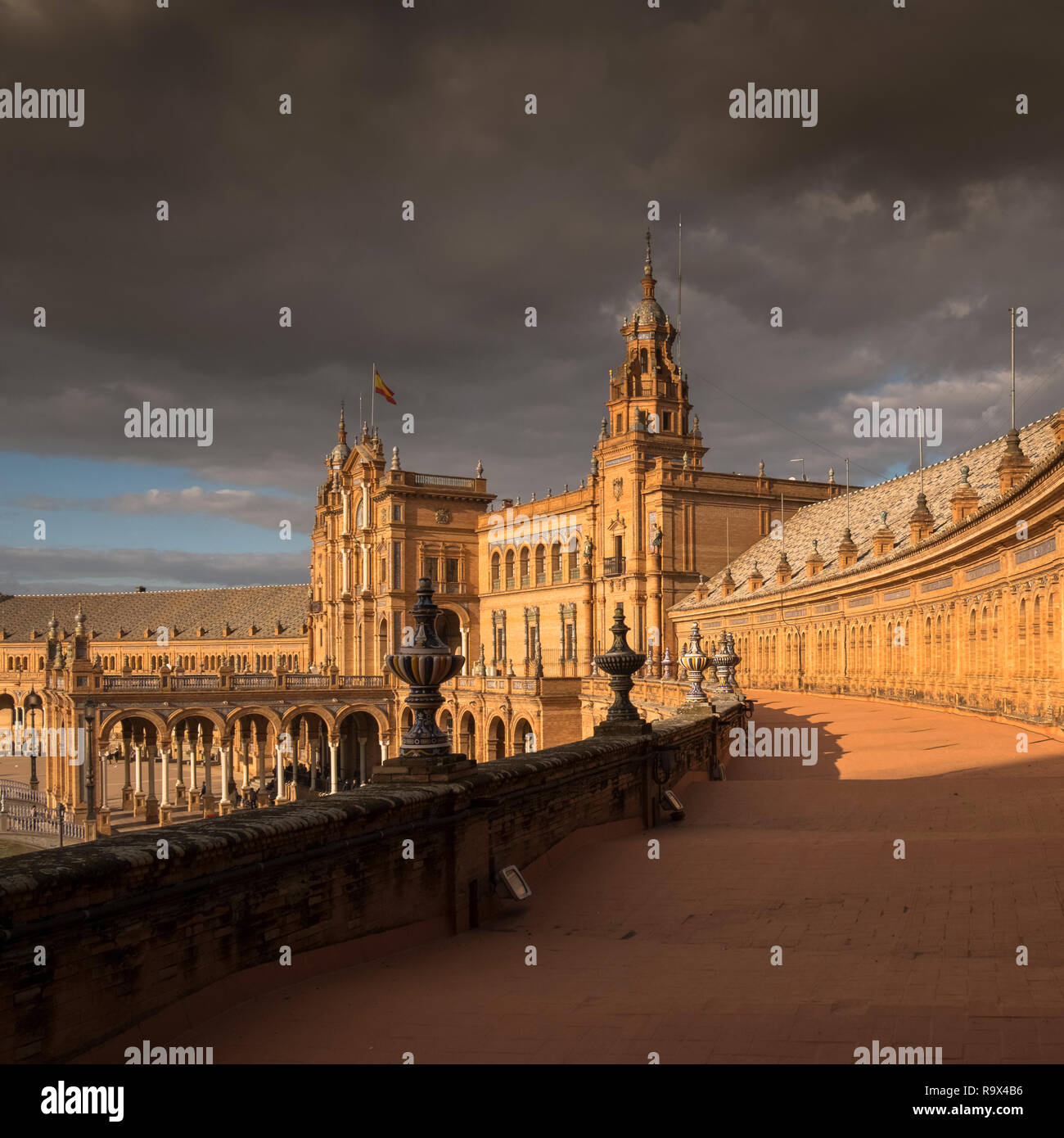 Principal building of Plaza de Espana, built in 1928 for the 1929 Ibero-American Exposition, a landmark example of architecture in Seville, Spain Stock Photo