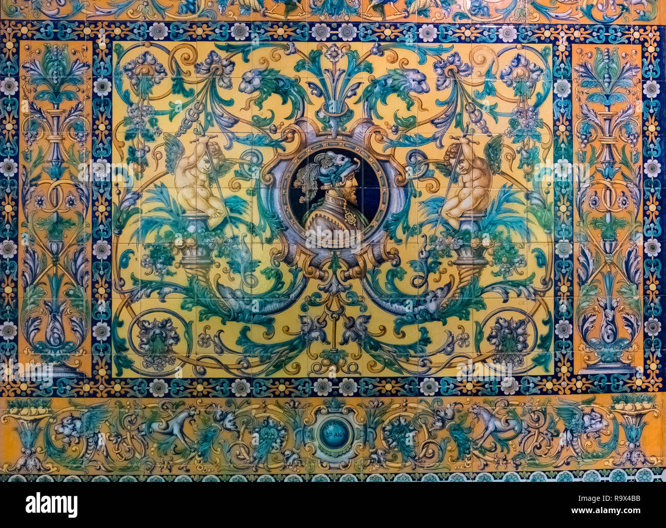 Close up view of ceramic decorative wall tiles, typically seen in Seville, Andalucia, Spain Stock Photo