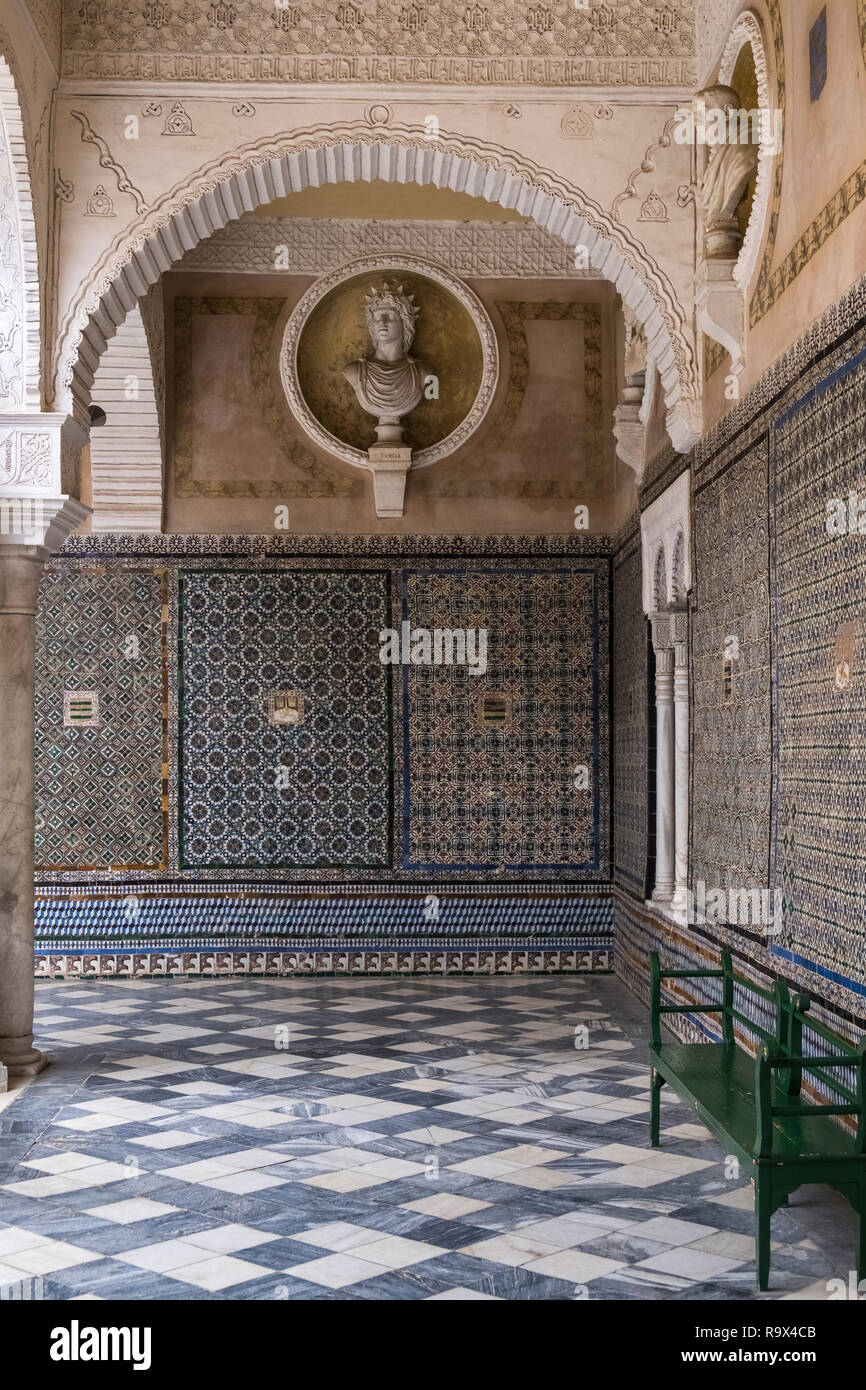 Casa de Pilatos (Pilate's House), a Mudejar style palace used by the Dukes of Medinaceli, Seville, Spain Stock Photo