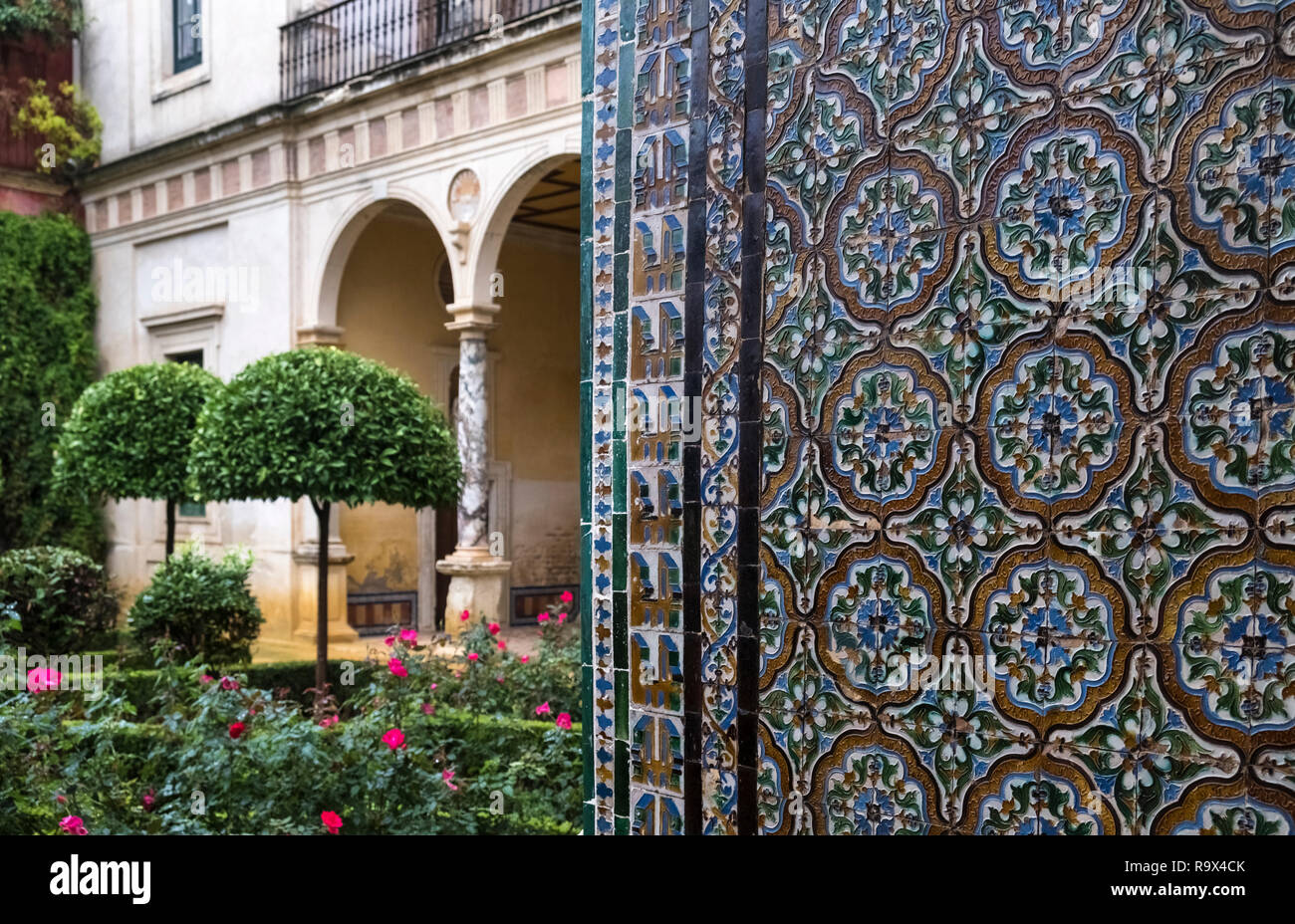 Wall tiles at Casa de Pilatos (Pilate's House), a Mudejar style palace used by the Dukes of Medinaceli, Seville, Spain Stock Photo
