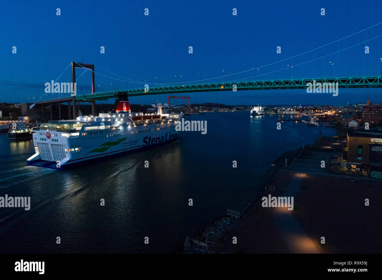 Stena Line Ferry, Gothenburg, Sweden. 2018-11-21, Nice blue dusk evening at autumn in the city.  Beautiful boat cruising at sea. Stock Photo