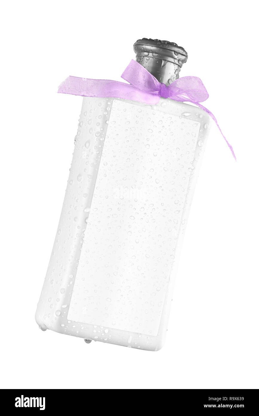 Elegant shower gel bottle with blank label and water drops on the label, tilted view, isolated on transparent or white background - Stock Image