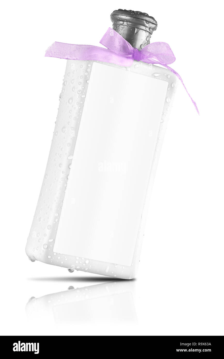 Elegant shower gel bottle with blank label, tilted view, reflected on the surface, isolated on transparent or white background. No water drops on the  - Stock Image