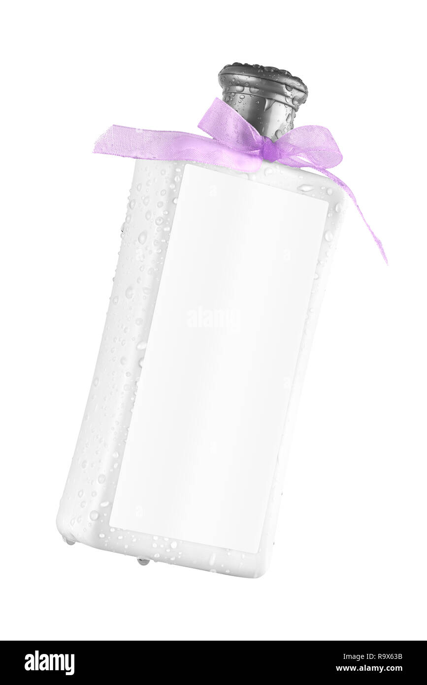 Elegant shower gel bottle with blank label, tilted view, isolated on transparent or white background. No water drops on the label - Stock Image