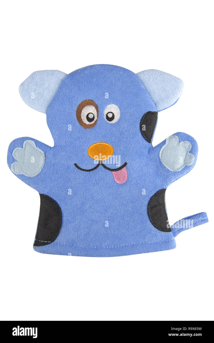 Blue bath hand glove shaped like a funny dog, isolated on white background, clipping path included Stock Photo