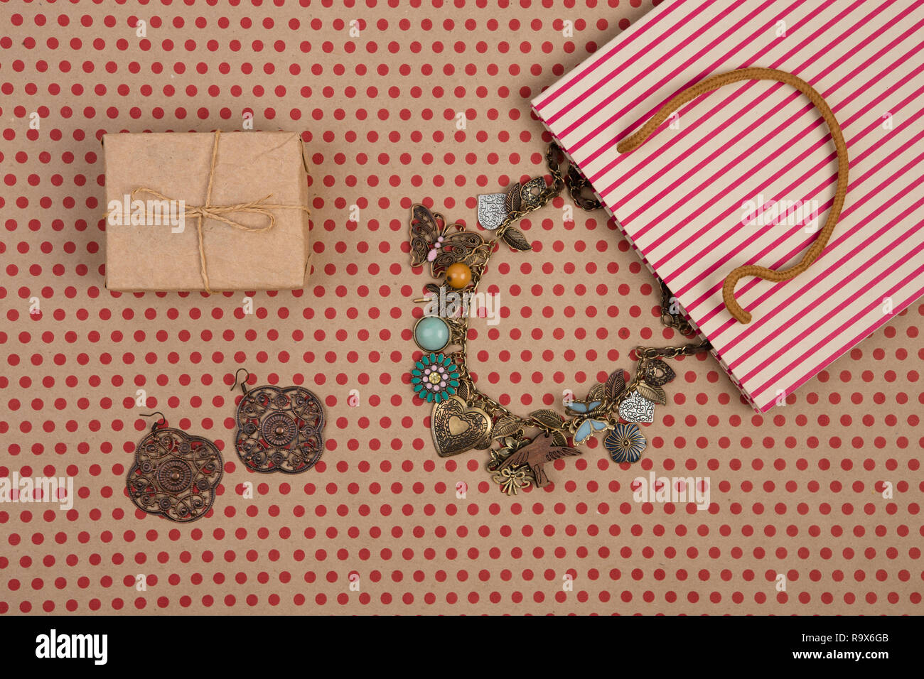 Celebratory Concept Handmade Striped Shopping Bag Of Craft Paper