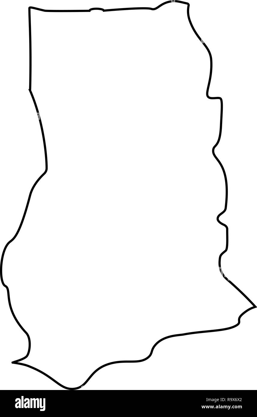 map of Ghana - outline. Silhouette of Ghana map vector illustration - Stock Image