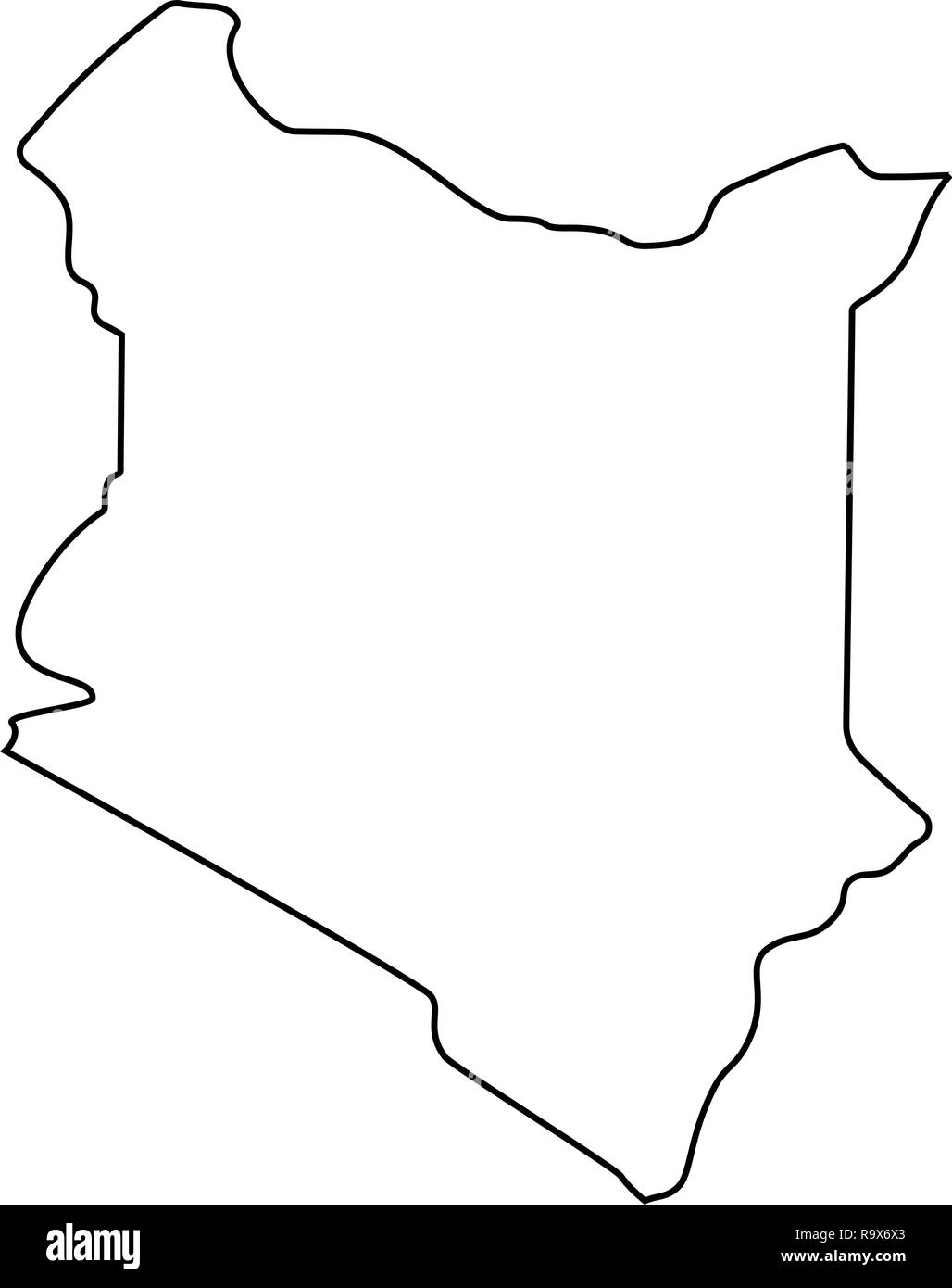 map of Kenya -outline. Silhouette of Kenya map vector illustration ...