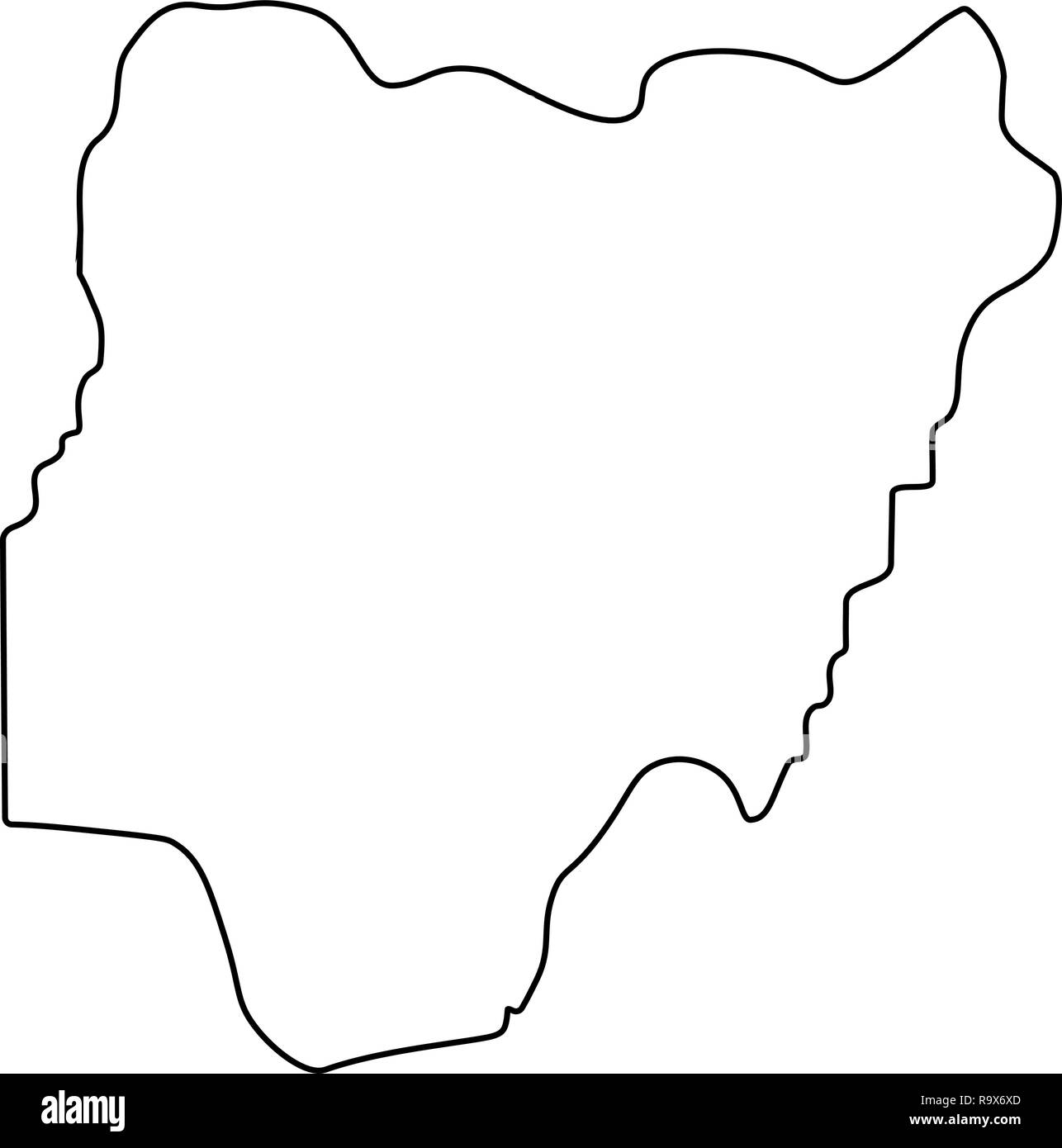 map of Nigeria - outline. Silhouette of Nigeria map vector illustration - Stock Image