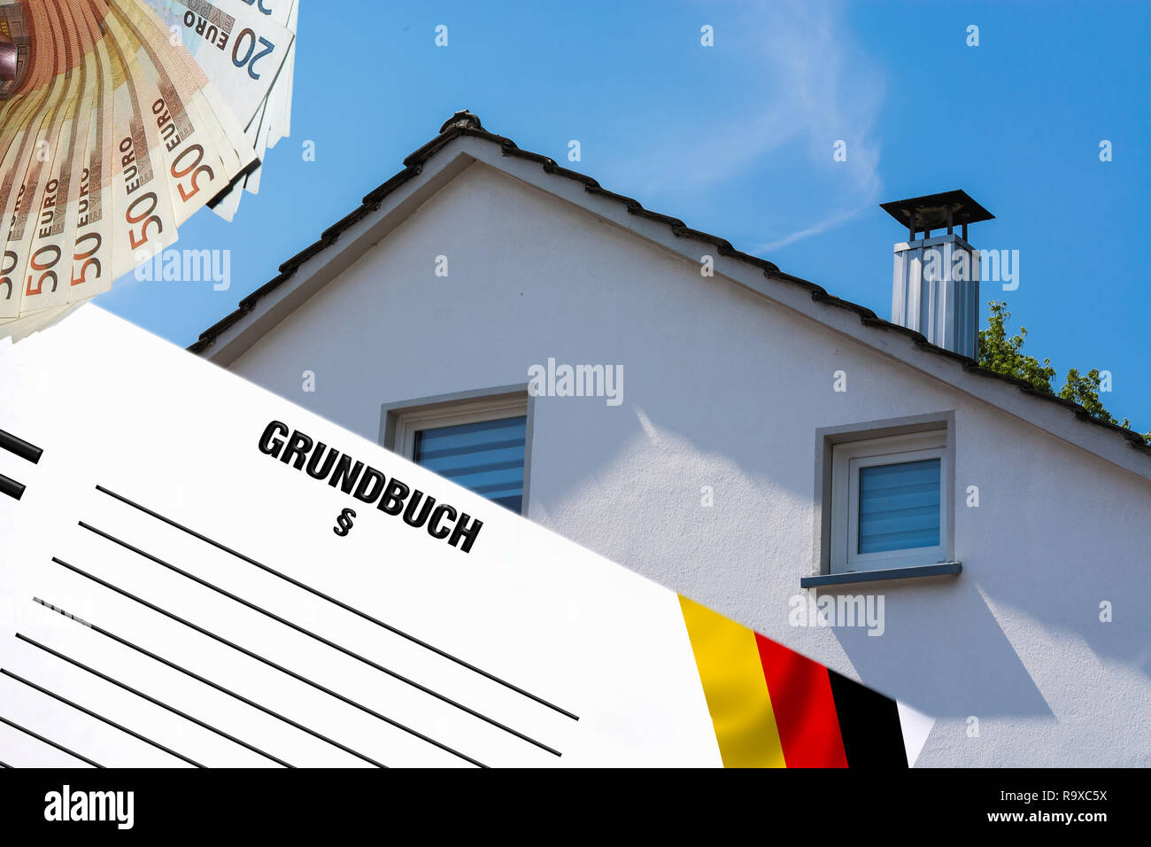 Gable side of a multi-family house of the 60s after the modernization against the blue sky. In the foreground white note with inscription in german la - Stock Image