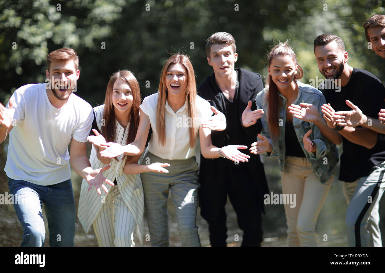 team of happy young people. - Stock Image