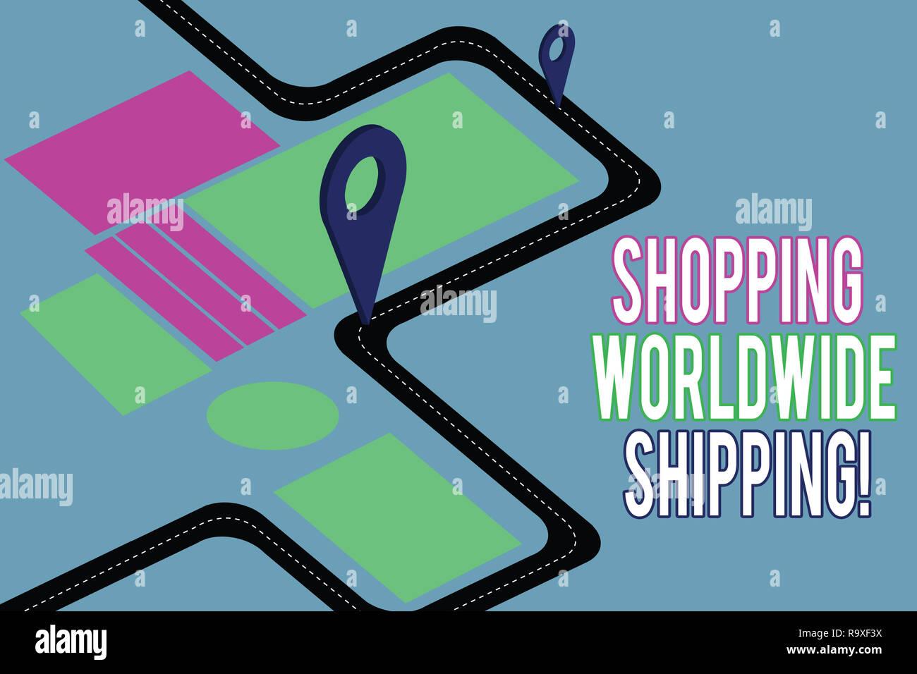 Handwriting text writing Shopping Worldwide Shipping